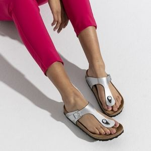 Birkenstock Gizeh Silver Thong Sandals Size 5 /5.5